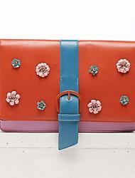 economico -Donna Sacchetti PU (Poliuretano) Pochette Bottoni Fiore (i) per Casual Tutte le stagioni Arancione