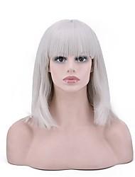 abordables -Perruque Synthétique Droit Coupe Carré Perruque afro-américaine Gris Femme Sans bonnet Perruque de fête Perruque Naturelle Perruque de