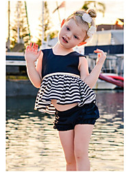 cheap -Baby Girl's Daily Solid Striped Dress, Cotton Bamboo Fiber Acrylic Spandex Spring Simple Sleeveless Black