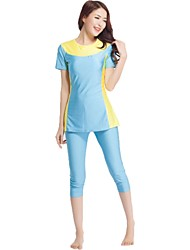 cheap -Women's Color Block Cute Strap Tankini Swimwear,Spandex Polyamide Light Blue Wine Navy Blue
