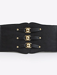 cheap -Women's Leather Fabric Wide Belt,Red Black White Brown Vintage Casual Solid