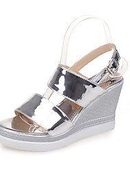 cheap -Women's Shoes Leatherette Summer Basic Pump Sandals Wedge Heel Open Toe for Casual Dress Gold Silver Light Purple