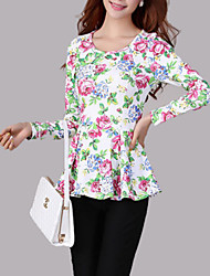 cheap -Women's Going out Vintage Spring Shirt,Floral Round Neck Long Sleeve Cotton Opaque