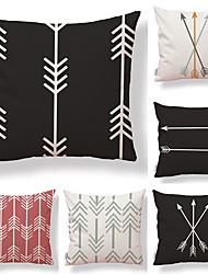 cheap -6 pcs Textile Cotton/Linen Pillow Cover, Floral Geometric Art Deco