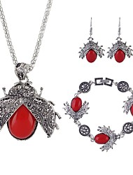 cheap -Women's Jewelry Set - Imitation Tourmaline Animal Simple, Fashion Include Drop Earrings / Pendant Necklace Black / Red / Green For