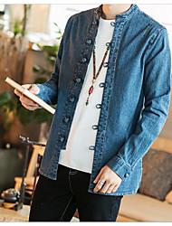 Недорогие -Муж. Рубашка Винтаж Шинуазери (китайский стиль) Однотонный Хлопок