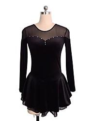 abordables -Robe de Patinage Artistique Femme Fille Patinage Robes Noir Bleu royal Bourgogne Tenue de Patinage Paillette Manches Longues Patinage