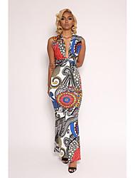 cheap -Women's A Line Dress Print High Waist Maxi Deep V