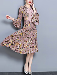 Недорогие -Жен. Пляж Вспышка рукава Шифон С летящей юбкой Платье - Цветочный принт, Бант С принтом V-образный вырез Ассиметричное