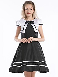 cheap -Sweet Lolita Dress 1950s One Piece Dress Cosplay Black Cap Short Sleeves Knee Length