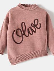 cheap -Girls' Solid Word Sweater & Cardigan, Cotton Acrylic Spring Long Sleeves Blushing Pink Purple