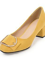 Недорогие -Жен. Обувь Дерматин Весна Осень Удобная обувь Обувь на каблуках На толстом каблуке Круглый носок Стразы для Для праздника Для вечеринки /