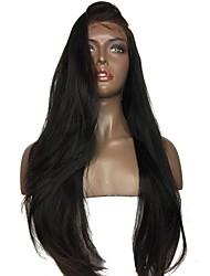 levne -Přírodní vlasy Krajka paruka Yaki Rovné Střih Bob Dětské vlasy Celokrajkové Nezpracované 100% Panna Střední část Přírodní vlasová linie
