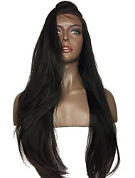 cheap -Human Hair Glueless Full Lace / Full Lace Wig Brazilian Hair Straight / Yaki Wig Bob Haircut / With Baby Hair 130% / 150% Natural Hairline / Middle Part / 100% Virgin Women's Short / Medium Length