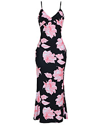 cheap -Women's Plus Size Going out / Holiday Bodycon / Sheath Dress - Floral Backless High Waist Maxi Strap