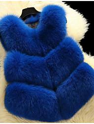 cheap -Women's Cute Faux Fur Fur Coat-Solid Colored V Neck