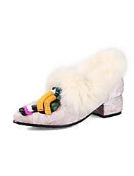 abordables -Mujer Zapatos Terciopelo Primavera / Otoño Confort Tacones Tacón Cuadrado Dedo Puntiagudo Cuentas Gris / Café / Rosa / Boda / Vestido