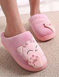 baratos -Para Meninas Sapatos Tecido Inverno Conforto Chinelos e flip-flops para Casual Preto Pêssego Azul Rosa claro