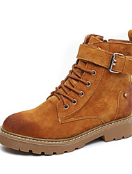 cheap -Women's Shoes Nubuck leather Cowhide Spring Fall Comfort Fashion Boots Boots Flat Heel Mid-Calf Boots for Casual Black Camel Khaki