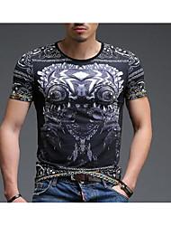 preiswerte -Herrn Solide Tierfell-Druck T-shirt, Rundhalsausschnitt