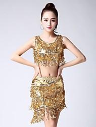 abordables -Baile Latino Accesorios Mujer Rendimiento Licra Borla Sin Mangas Cintura Baja Faldas Top