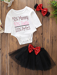 cheap -Baby Girls' Birthday Daily Weekend Solid Print Clothing Set, Cotton Acrylic Spring Fall Simple Cute Casual Long Sleeves Black