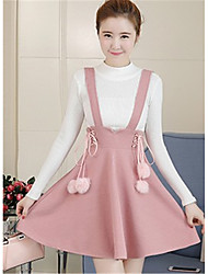 cheap -Women's Daily Going out Cute Active Winter Sweater Dress Suits,Color Block Turtleneck Long Sleeve Cotton