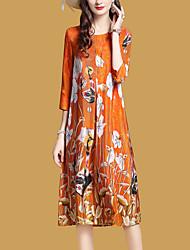 Недорогие -Жен. Пляж Свободный силуэт С летящей юбкой Платье - Цветочный принт, С принтом