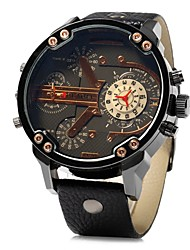 cheap -JUBAOLI Men's Wrist watch Chinese Quartz Large Dial Leather Band Cool Black Brown