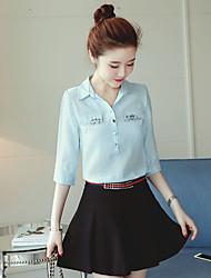 cheap -Women's Work Active Cotton Shirt - Solid Colored Shirt Collar