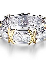 cheap -Women's Band Rings Cubic Zirconia 1pc Vintage Basic Fashion Zircon Silver Circle Drop Jewelry Wedding Engagement
