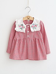 cheap -Girl's Holiday Going out Checks Dress,Cotton Polyester Spring Fall Long Sleeves Casual Red Black