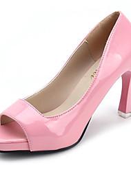 abordables -Femme Chaussures Polyuréthane Printemps Confort Chaussures à Talons Marche Talon Aiguille Bout ouvert pour Noir Violet Claire Rose