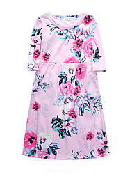 cheap -Girl's Daily Floral Dress, Cotton Spring Summer 3/4 Length Sleeves Active Street chic Blushing Pink Navy Blue Light Blue