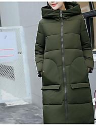 Недорогие -Пальто Простой Для женщин,Однотонный На выход На каждый день Полиэстер Перо Полипропилен,Длинный рукав