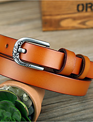 cheap -Men's Leather Alloy Waist Belt,Brown Black Red Light Brown Vintage Casual