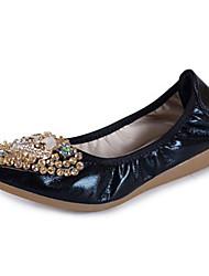 abordables -Femme Chaussures Gomme Printemps Automne Confort Ballerines Talon Plat Bout rond pour De plein air Or Noir Argent