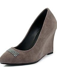abordables -Femme Chaussures Laine synthétique Printemps / Eté Confort Chaussures à Talons Hauteur de semelle compensée Bout pointu Gris / Rouge /