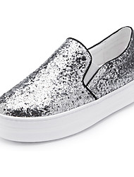 cheap -Women's Shoes Paillette Spring Fall Moccasin Loafers & Slip-Ons Creepers Round Toe Sequin for Casual Outdoor Blue Green Gray Silver Black