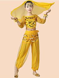 economico -Danza del ventre Completi Da ragazza Prestazioni Chiffon Paillettes Con balze Manica a 3/4 Cadente Top Pantaloni Cintura Bracciali