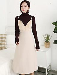 Недорогие -Жен. А-силуэт Платье С принтом Завышенная На бретелях Средней длины