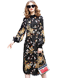 cheap -YHSP Women's Daily Going out Casual Street chic A Line Sheath DressPrint Stand Midi Long Sleeve Polyester Spring Mid Rise Inelastic Thin