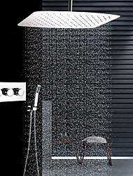 abordables -Moderne Montage au plafond Douche pluie Douchette inclue Thermostatique Soupape céramique Trois poignées trois trous Acier inoxydable,