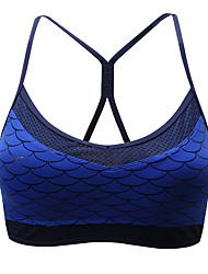 baratos -Sem costas / Com tiras Sutiã Esportivo Acolchoado Sustentação Leve Para Ioga - Preto / Azul Esticar Mulheres Fibra Sintética