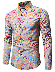 cheap -Men's Weekend Business Cotton Slim Shirt Print