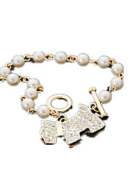abordables -Femme Bracelets de rive Strass Mode Imitation de perle Alliage Bijoux Quotidien Bijoux de fantaisie Or Argent