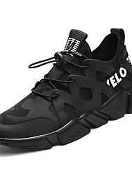 baratos -Homens sapatos Tecido Primavera Outono Conforto Tênis Caminhada para Atlético Preto Branco/Preto Vinho