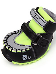 cheap -Dog Boots / Shoes Casual/Daily Solid Black Orange Red Green Pink For Pets