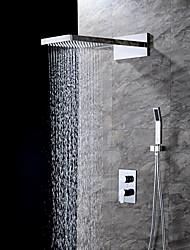 Moderní Nástěnná montáž Vodopád Dešťová sprcha Včetne sprchové hlavice Keramický ventil Dvěma uchy tři otvory Pochromovaný , Sprchová