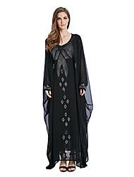 abordables -Mode Jalabiya Robe caftan Abaya Robe Arabe Femme Fête / Célébration Déguisement d'Halloween Noir Couleur Pleine